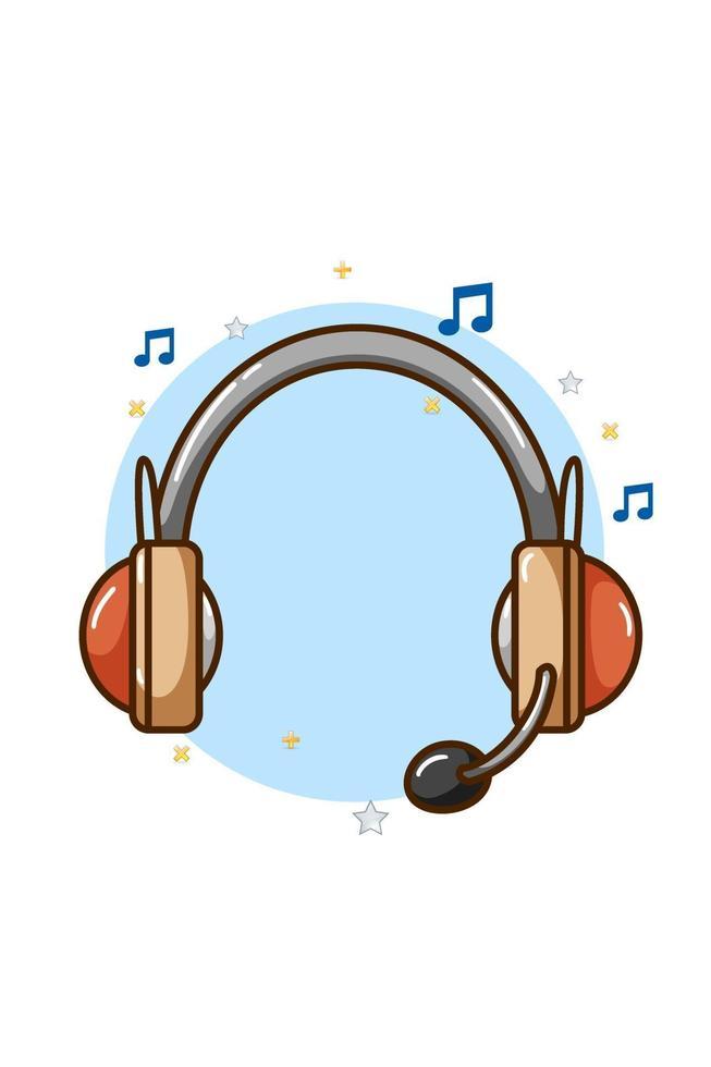 ilustração do ícone da música com fone de ouvido vetor