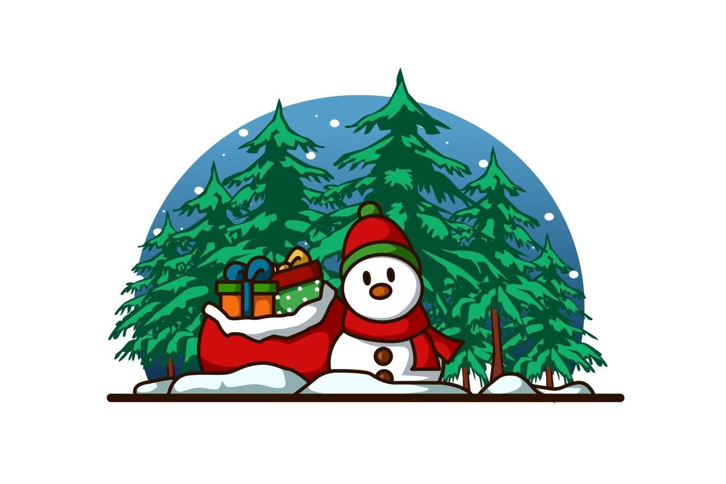 um boneco de neve com cachecol e chapéu com alguns presentes na floresta no natal vetor