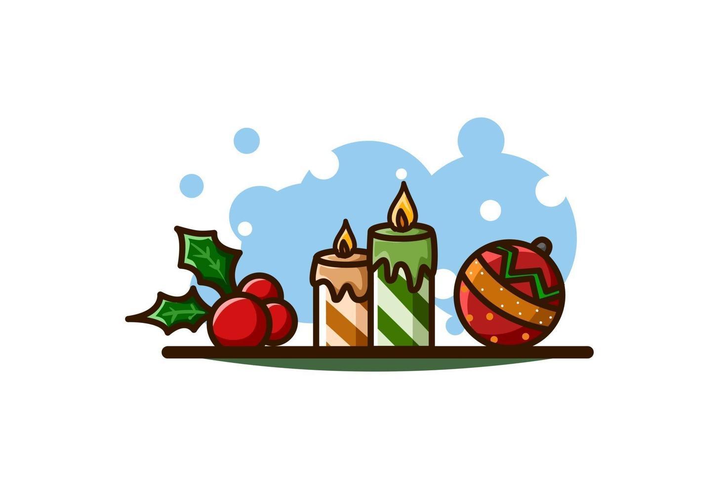 folhas de azevinho, velas e bola, ícone de natal vetor