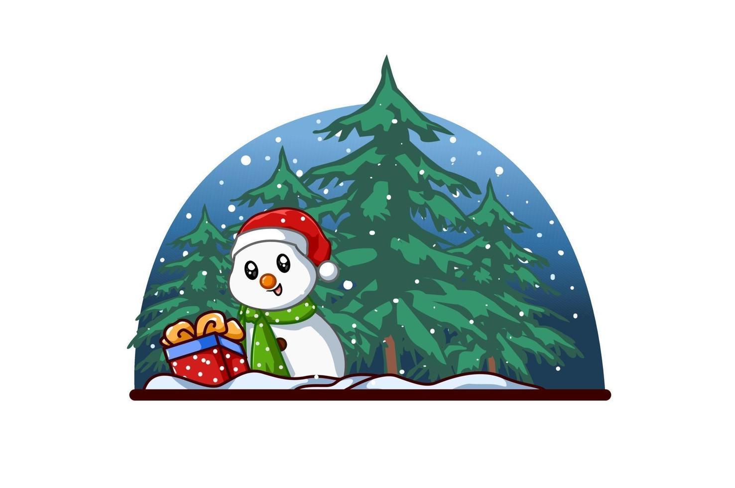 pequeno boneco de neve com um presente de natal na floresta à noite vetor
