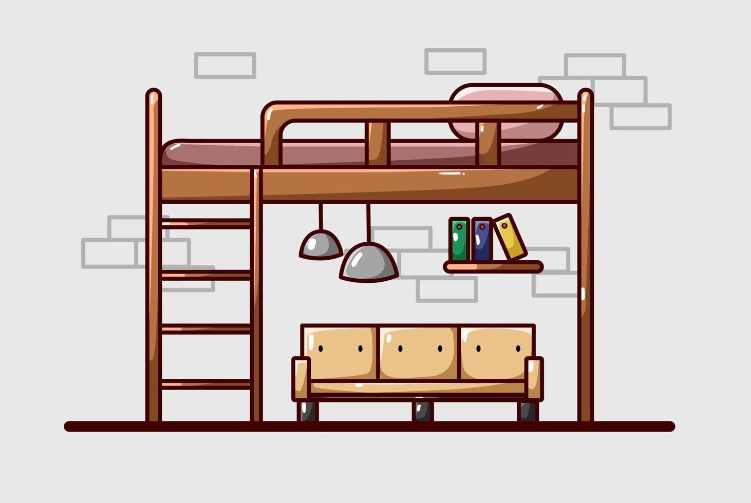 ilustração de cama em dormitório de luxo vetor