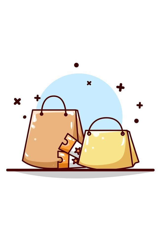 sacola de compras online com ilustração de vouchers vetor