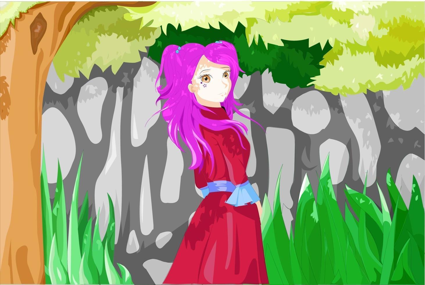 garota de anime com cabelo roxo, olhos castanhos e usando roupa vermelha embaixo da árvore vetor