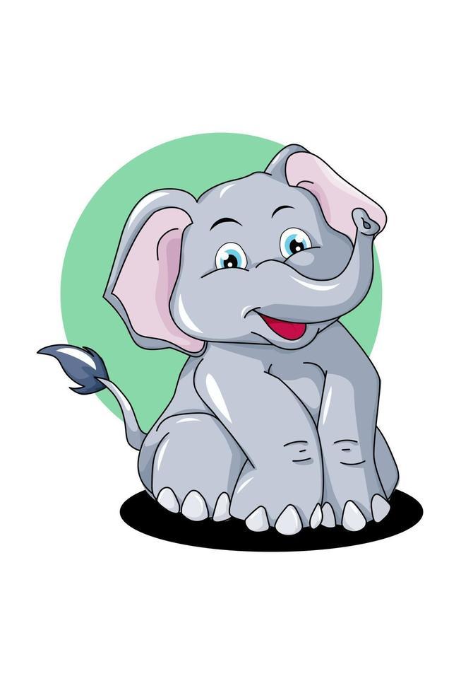 elefante cinza pequeno fofo com fundo de elipse verde e sombra preta vetor