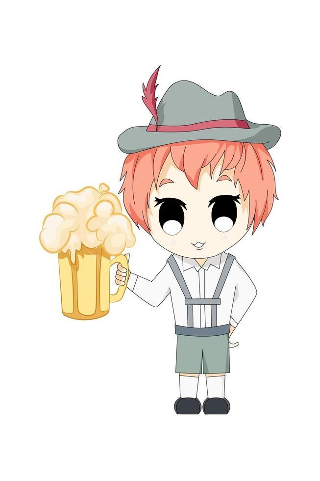 menino anime chibi com cerveja vetor