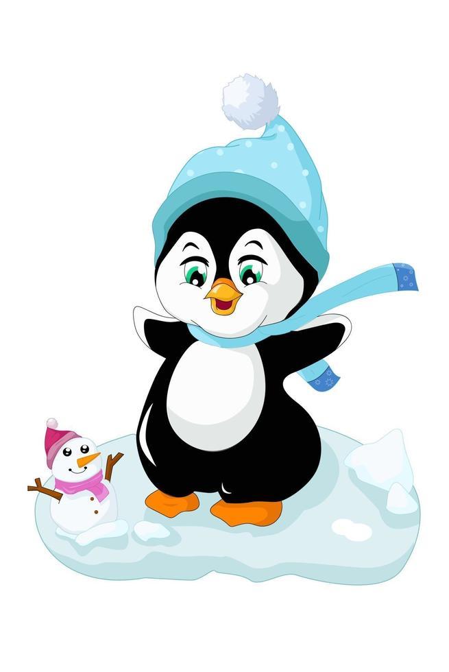 pinguim polar fofo se divertindo na neve com um boneco de neve, desenho de ilustração vetorial de desenho animado vetor