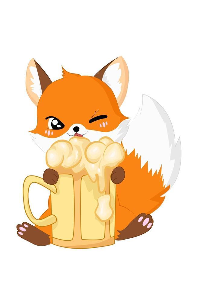 desenho de desenho animado de raposa com cerveja vetor