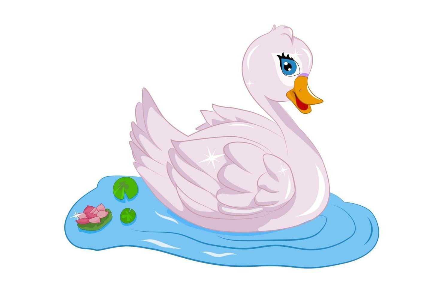 lindo ganso rosa em um rio, desenho animal cartoon vetor