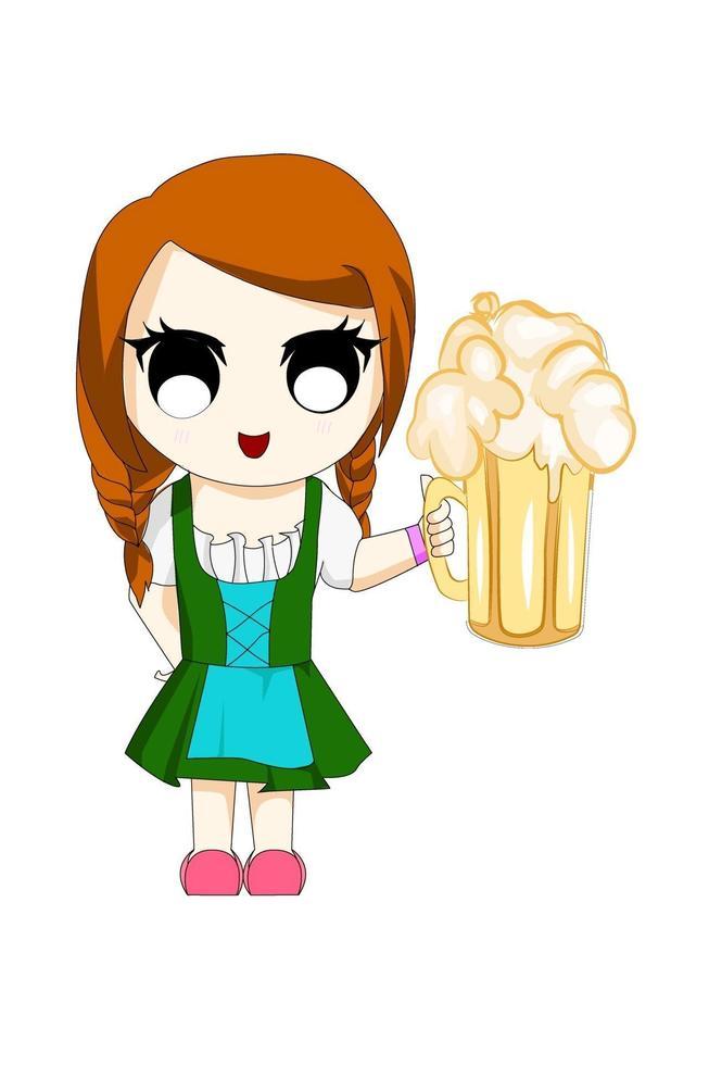 garota anime chibi com cerveja vetor