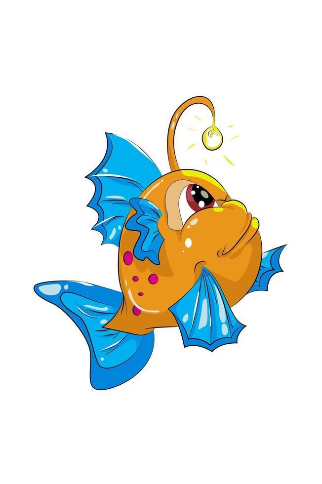 uma pequena lâmpada de peixe azul e laranja feliz com olhos vermelhos, desenho animal cartoon ilustração vetorial vetor