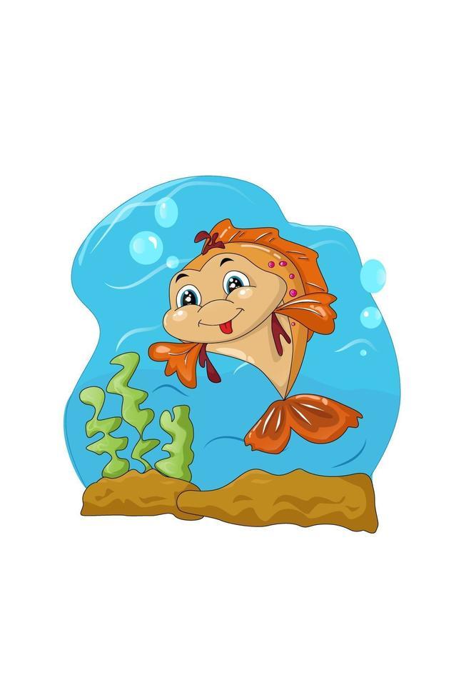 um bonito peixe laranja macho no mar azul, desenho animal cartoon ilustração vetorial vetor