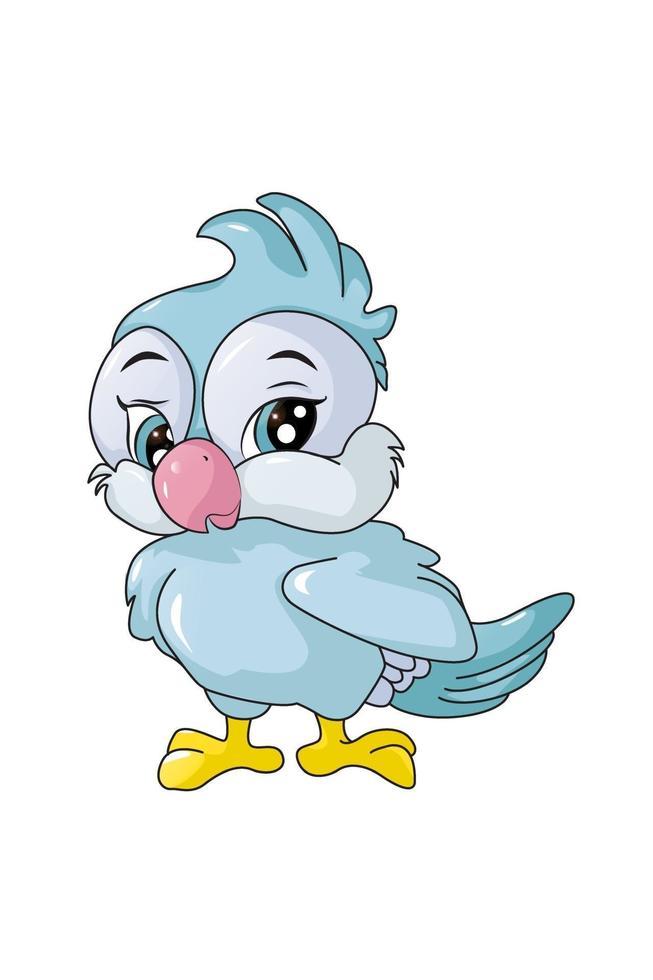 um passarinho azul bonito, desenho animal cartoon ilustração vetorial vetor