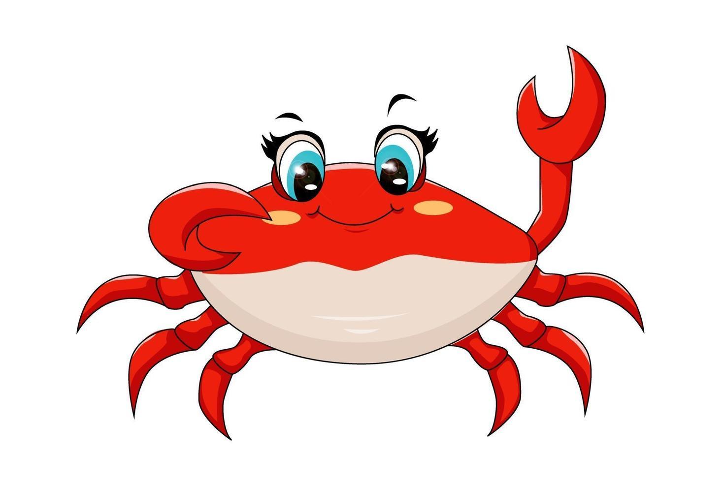 um caranguejo vermelho fofo com olhos azuis, desenho de ilustração vetorial de desenho animado vetor