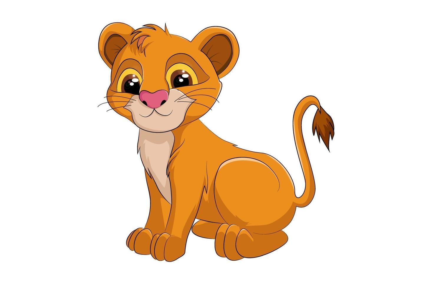 um leão bebê fofo, desenho animal cartoon vetor
