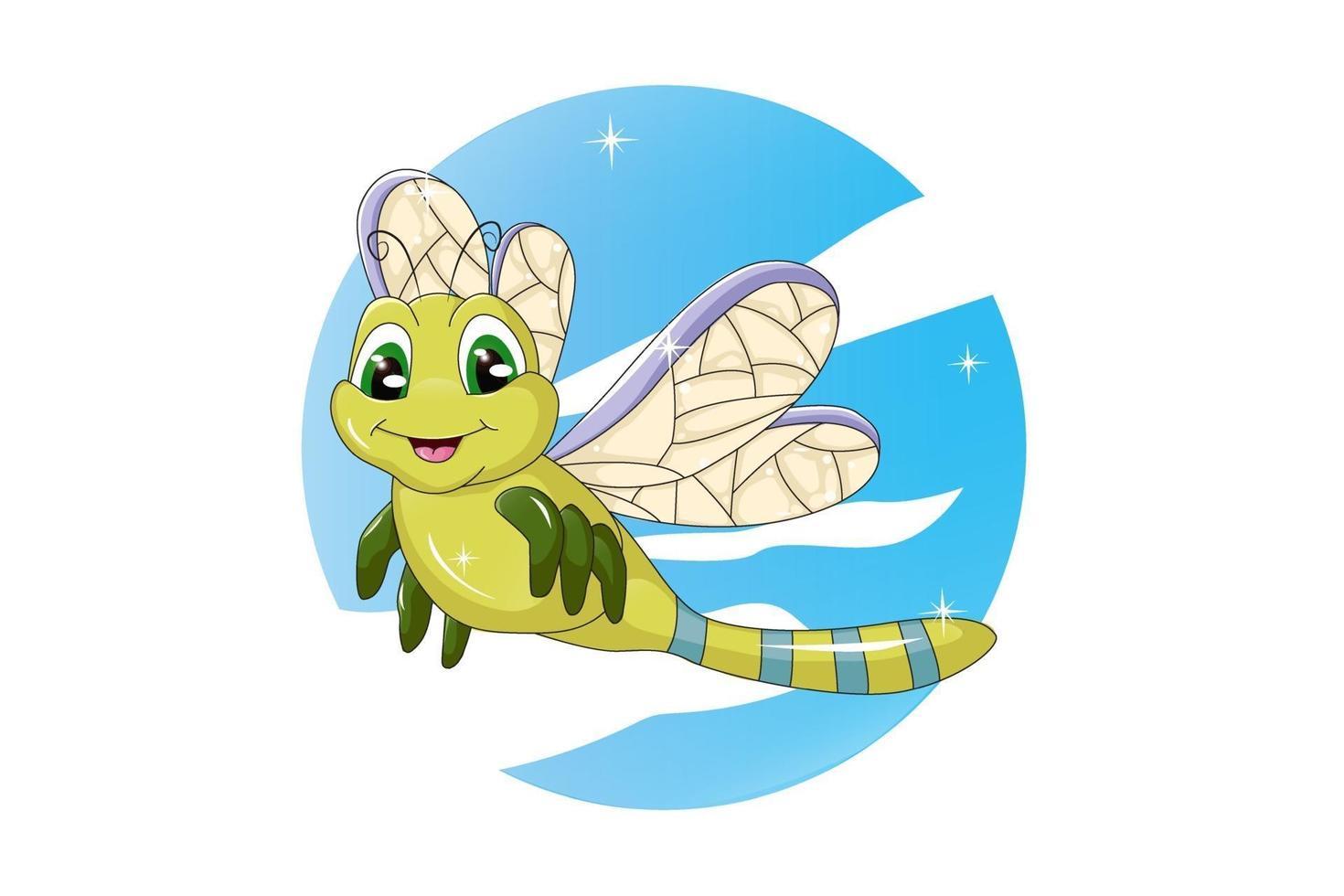 uma libélula verde, olhos verdes e asas roxas amarelas com fundo do céu, desenho animal cartoon ilustração vetorial vetor
