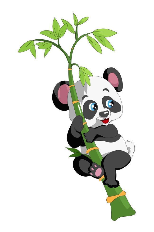 panda sorridente escalando um desenho de bambu vetor
