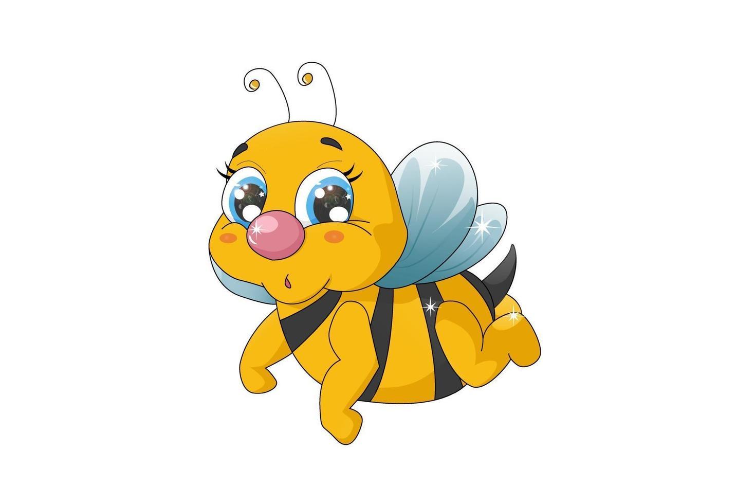 uma abelha bebê fofa com olhos azuis vetor