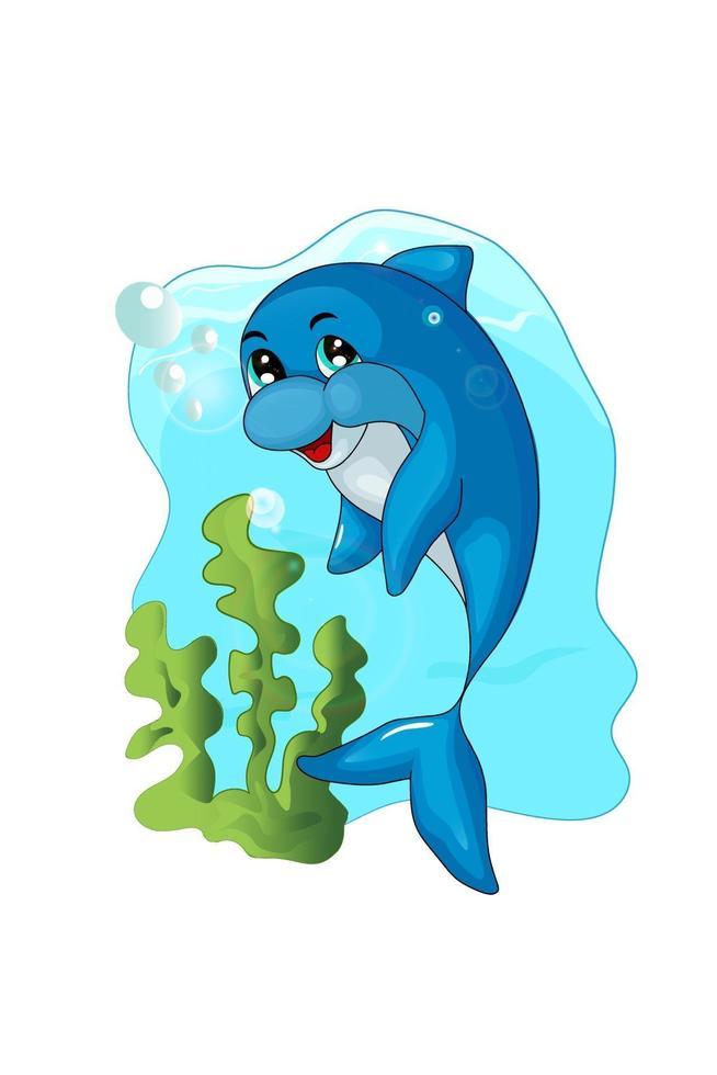 golfinho azul feliz, engraçado e fofo vetor