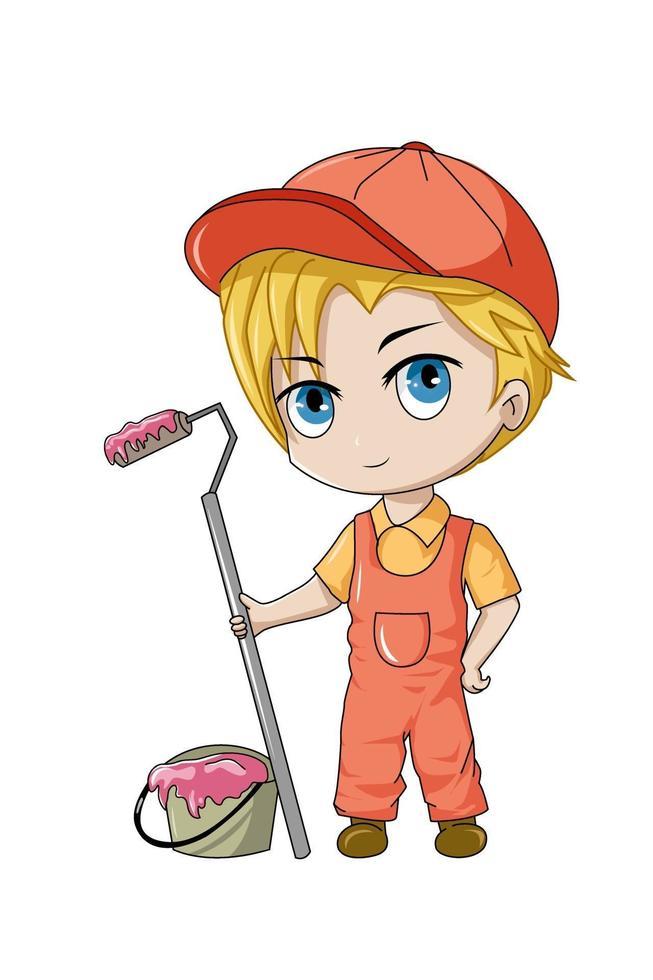 personagem de design, pintor profissional, desenho animado pequeno chibi anime vetor