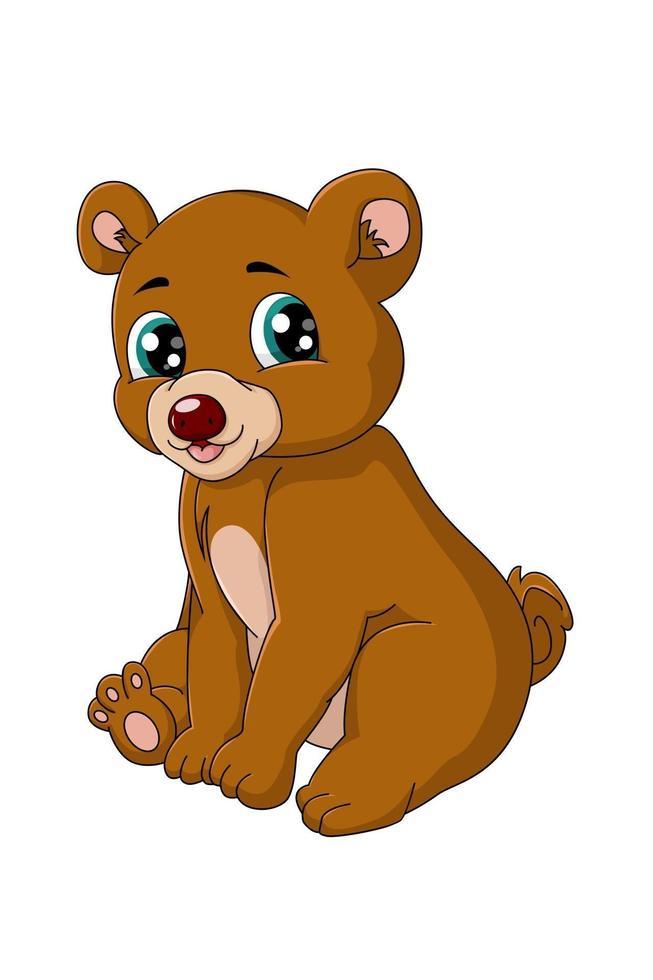 um ursinho pardo bebê feliz sentado, ilustração em vetor desenho animal