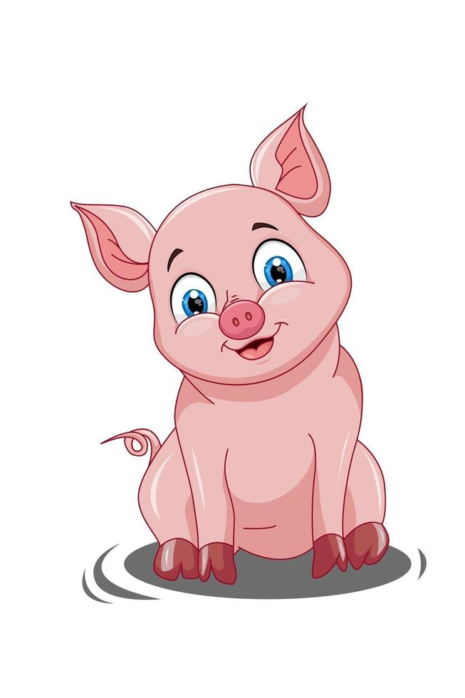 um porco rosa fofo sorrindo na lama, desenho animal cartoon ilustração vetorial vetor