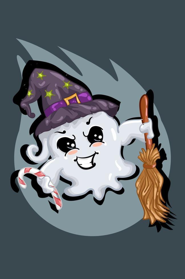 fantasma branco fofo usando chapéu de mago trazendo doces e vassoura mágica vetor