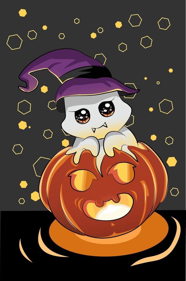 uma ilustração de um fantasma fofo usando um chapéu de bruxa na abóbora de Halloween vetor