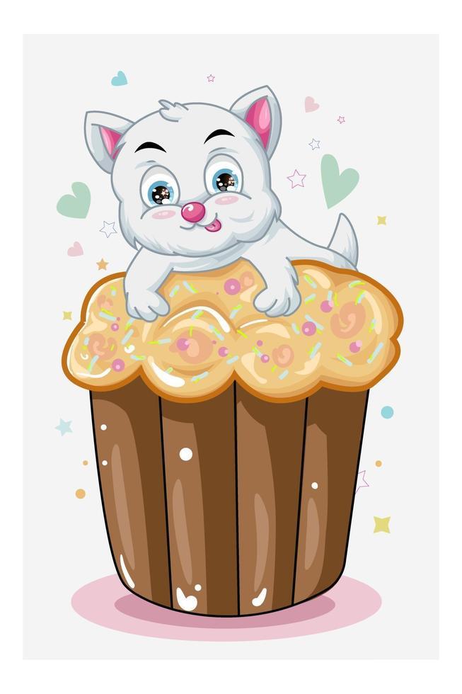 um gatinho fofo branco em cupcake marrom vetor
