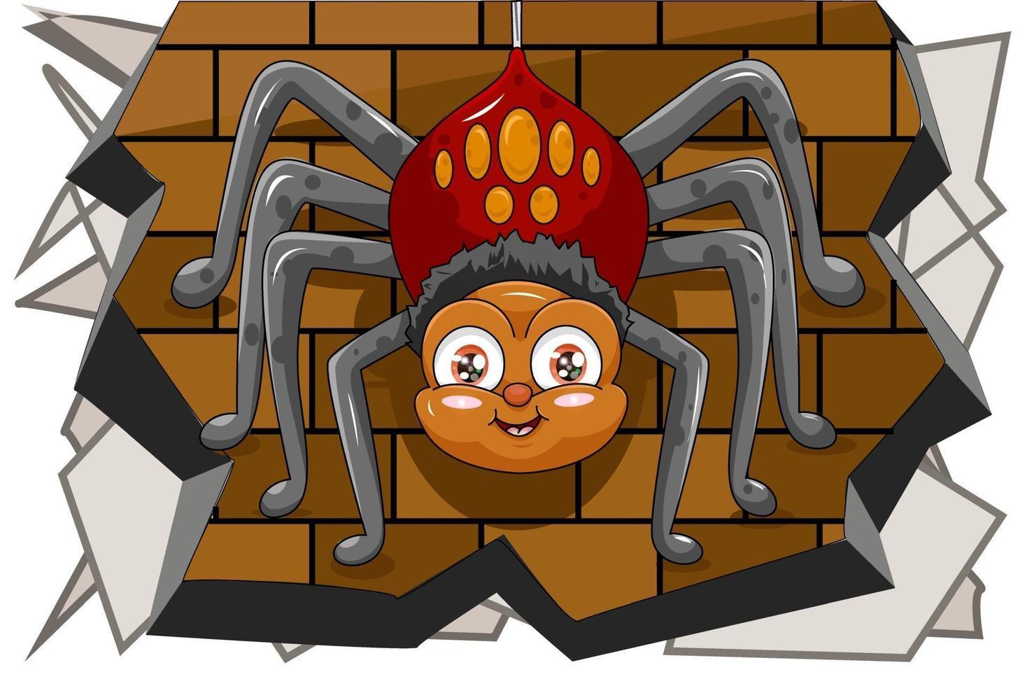 uma aranha macho fofa pendurada na parede, desenho animal cartoon ilustração vetorial vetor