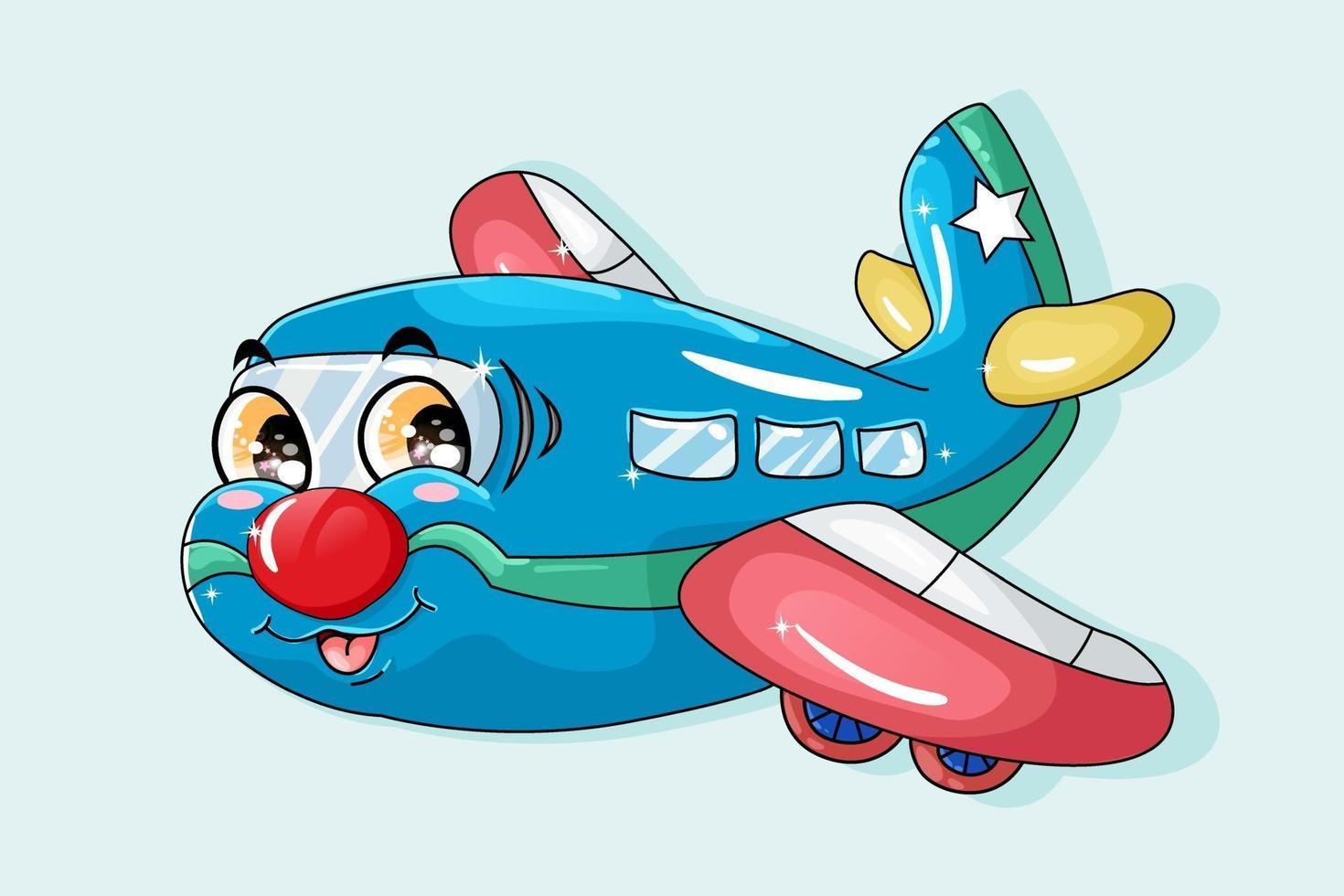uma ilustração de um avião vermelho azul com olhos laranja, desenho animado de transporte vetor