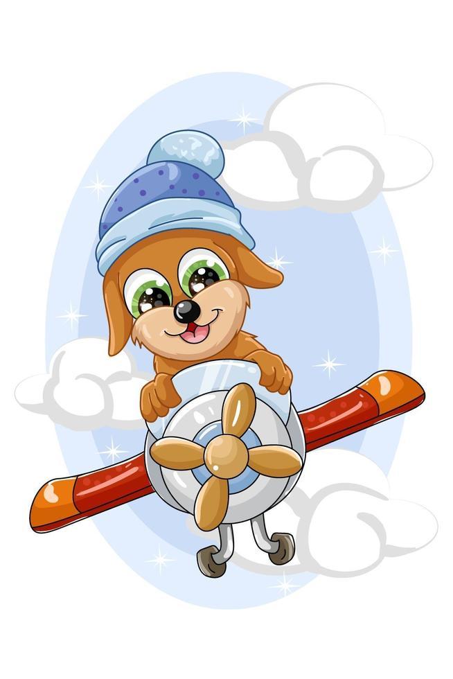 um cachorrinho marrom engraçado voa em um avião vetor
