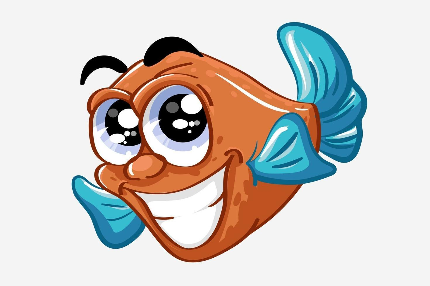 engraçado peixe azul laranja sorrindo, ilustração em vetor desenho animal