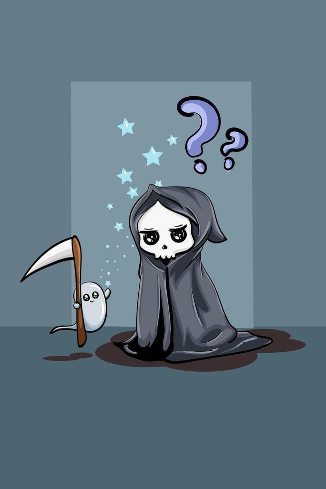 um pequeno crânio fofo vestindo uma capa preta com um pequeno fantasma branco carregando um machado vetor