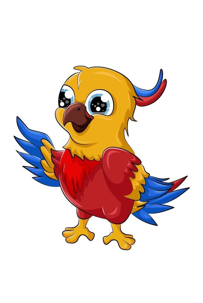 um pequeno bebê fofo papagaio pássaro desenho animal cartoon ilustração em vetor