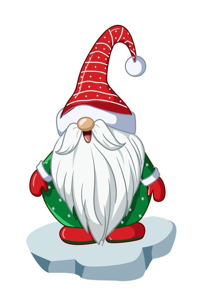 um anão papai noel com camisa verde e chapéu de natal vetor