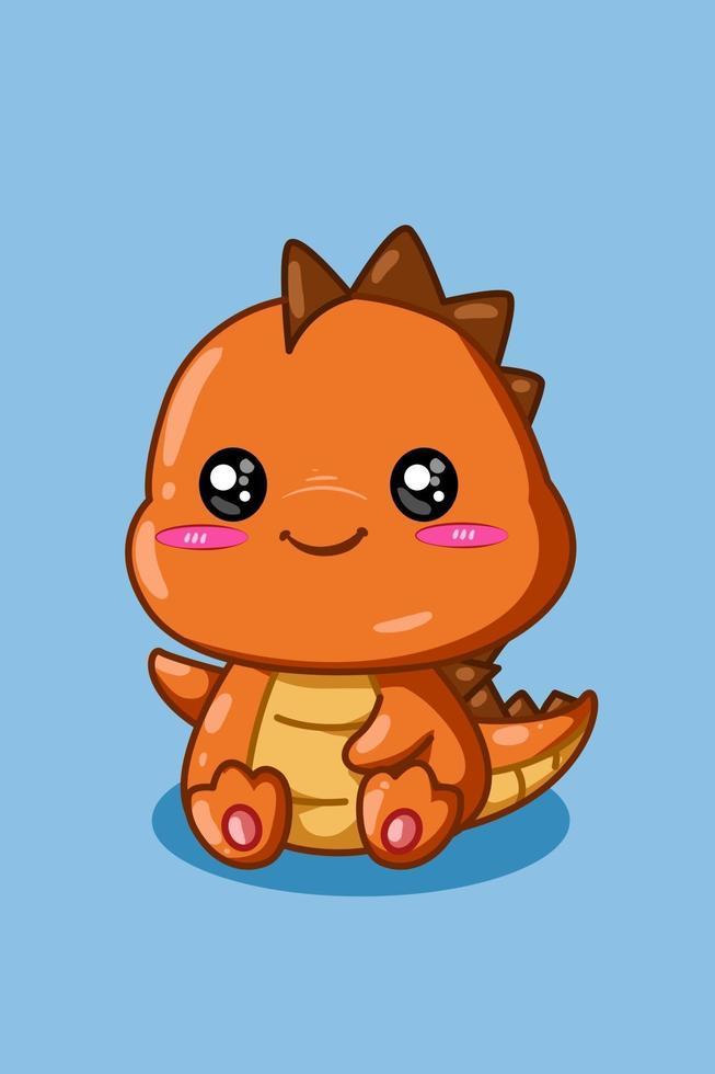 ilustração de um pequeno e fofo dinossauro laranja com fundo azul vetor