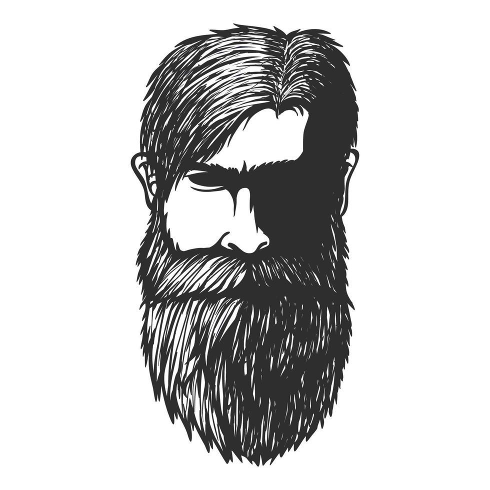 homem de bigode e barba. ilustração em vetor cabeça mão desenhada