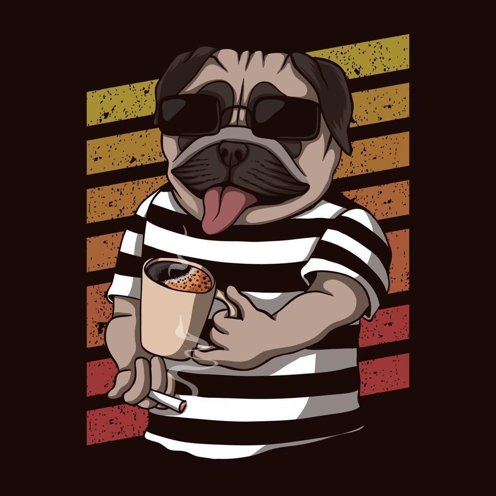 ilustração em vetor retrô cachorro pug bebendo café