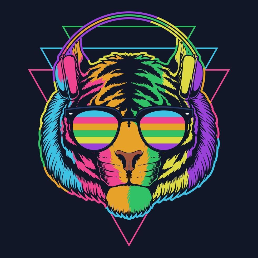 ilustração vetorial de fone de ouvido tigre com óculos coloridos vetor