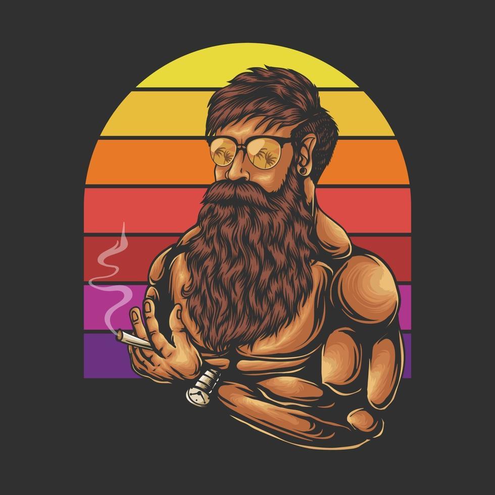 homem de bigode e barba, ilustração vetorial retrô de cabeça vetor