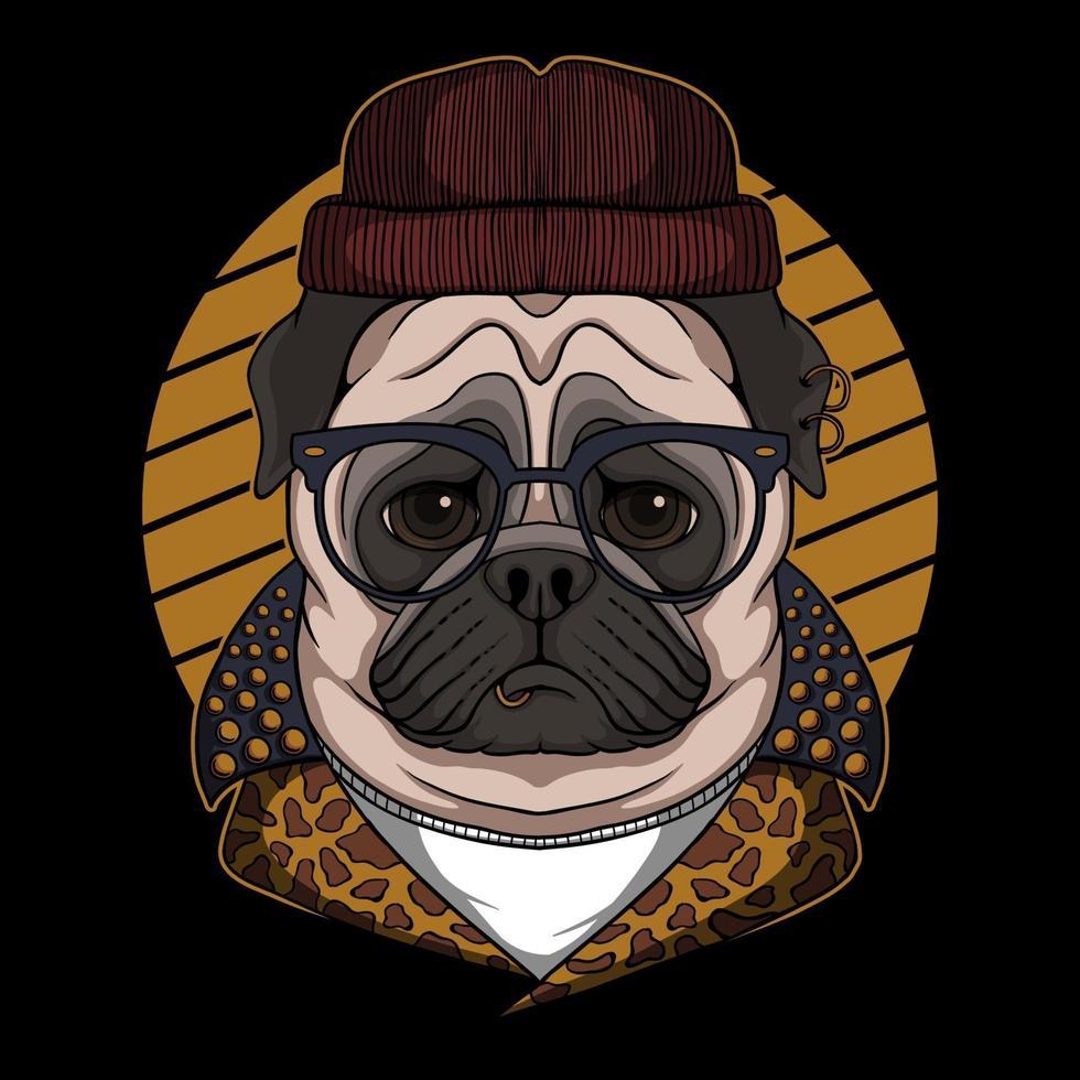 ilustração em vetor cão pug legal