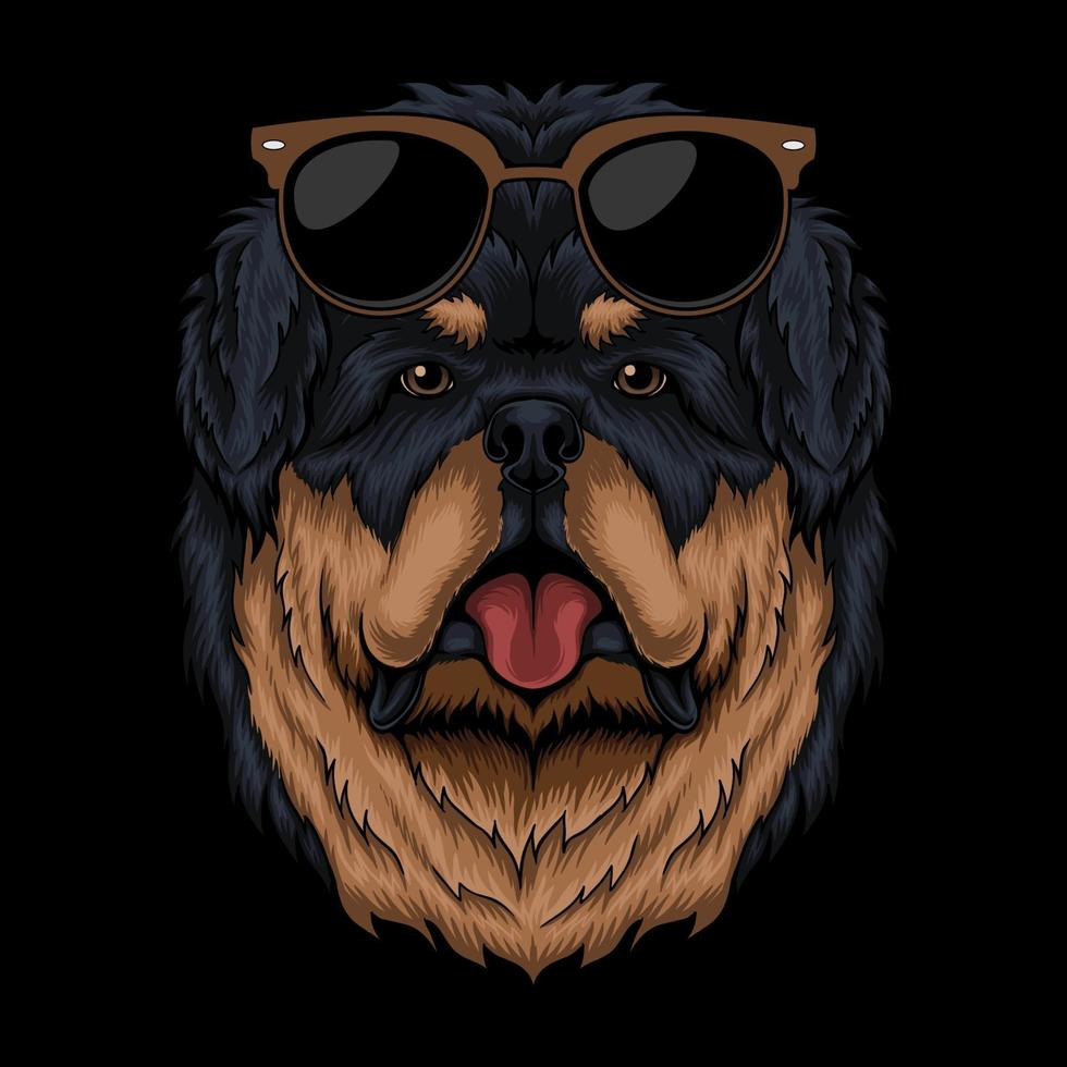 ilustração em vetor retrô tibetan mastiff eyeglasses