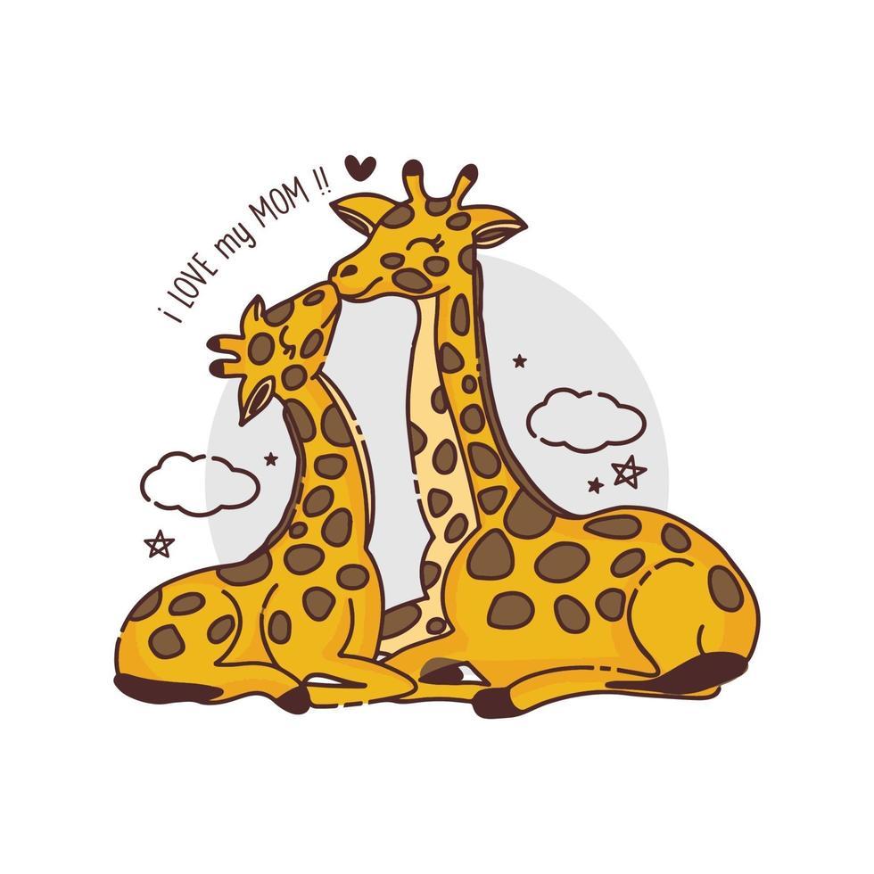 cartão de dia das mães com girafas. girafa mãe beijando bebê girafa. vetor