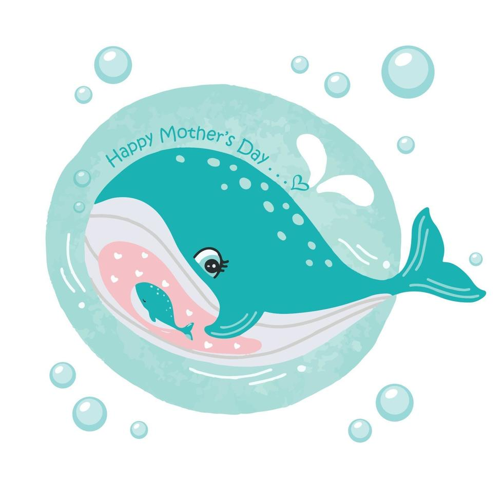 cartão do dia das mães com baleias. lindo animal mãe e bebê. vetor