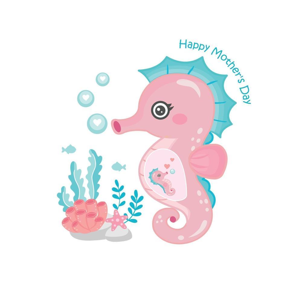 cartão de dia das mães com cavalos-marinhos. lindo animal mãe e bebê. vetor