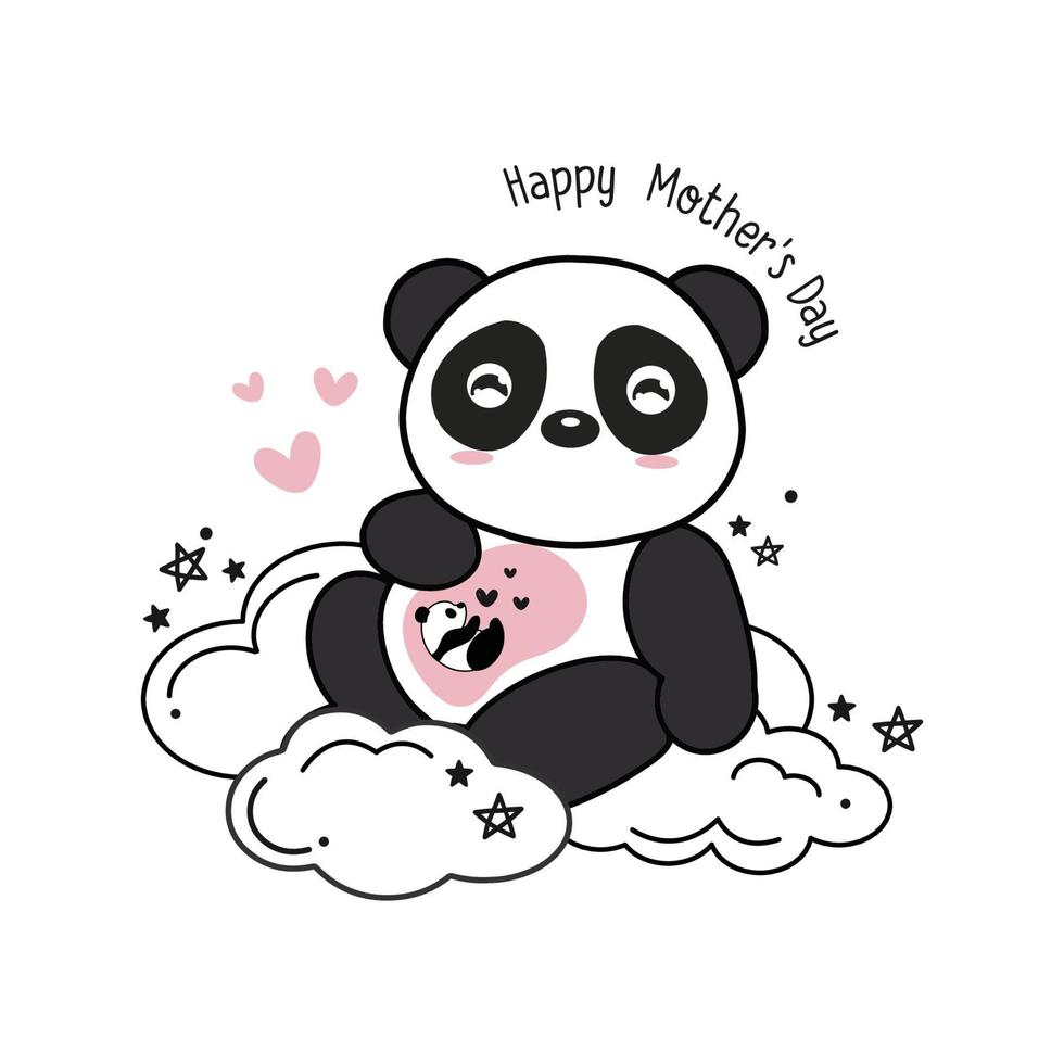 cartão do dia das mães com pandas. mãe panda abraçando o bebê panda. vetor