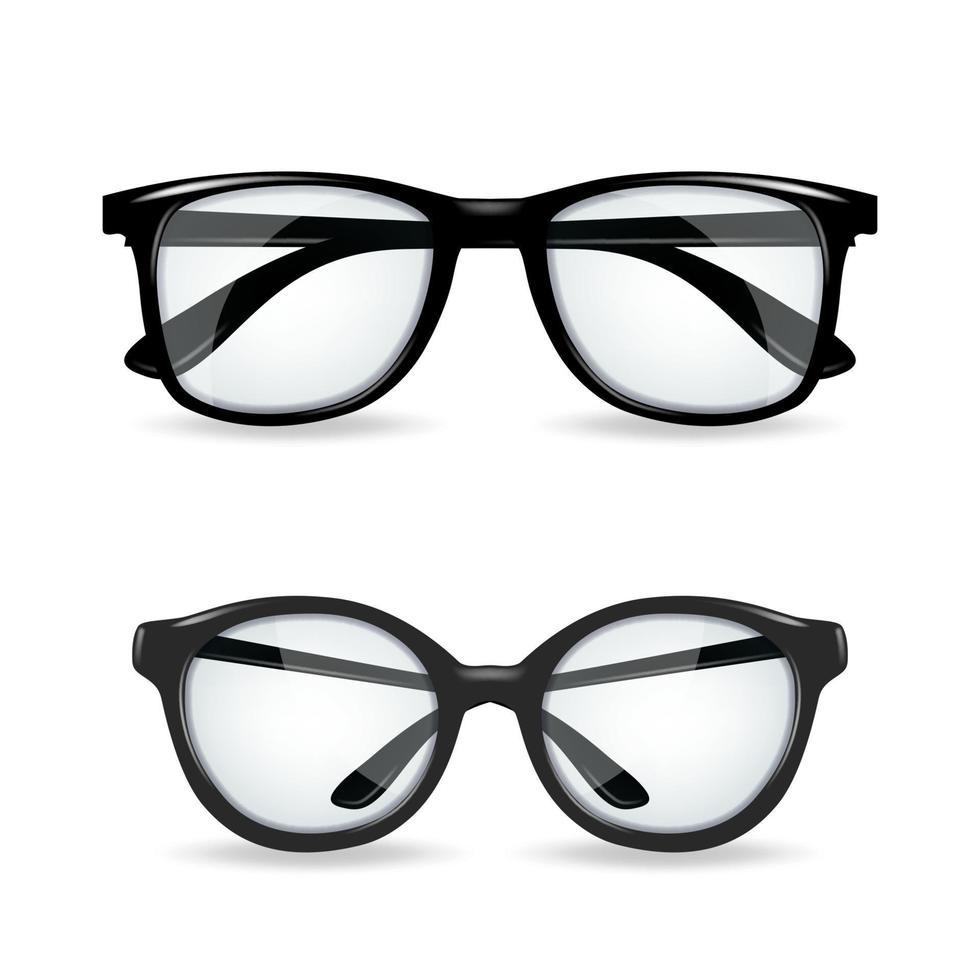 óculos pretos realíticos isolados no fundo branco vetor