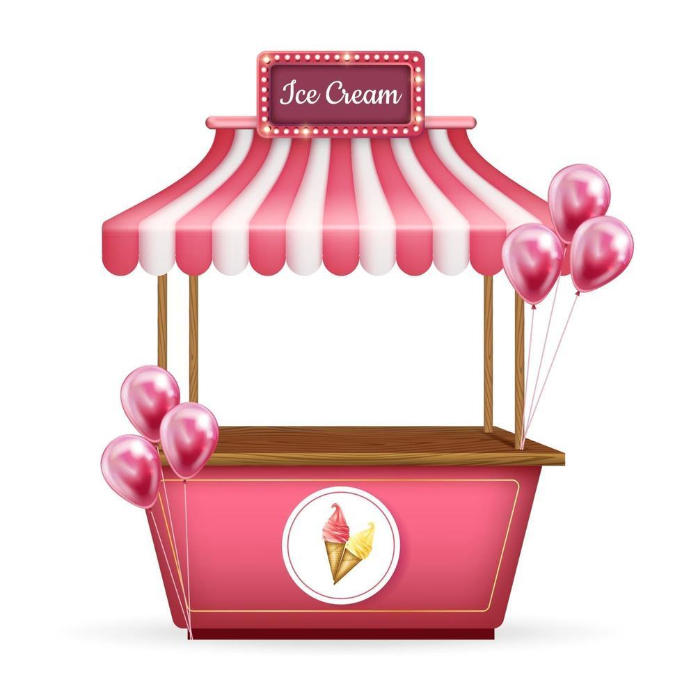 Carrinho de vetor 3D realista, carrinho de quiosque de alimentos. loja rosa com sorvete e balões