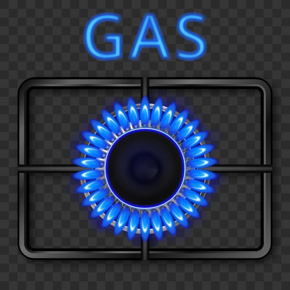 queimador a gás com chama azul e grelha de aço preta. ilustração realística do vetor