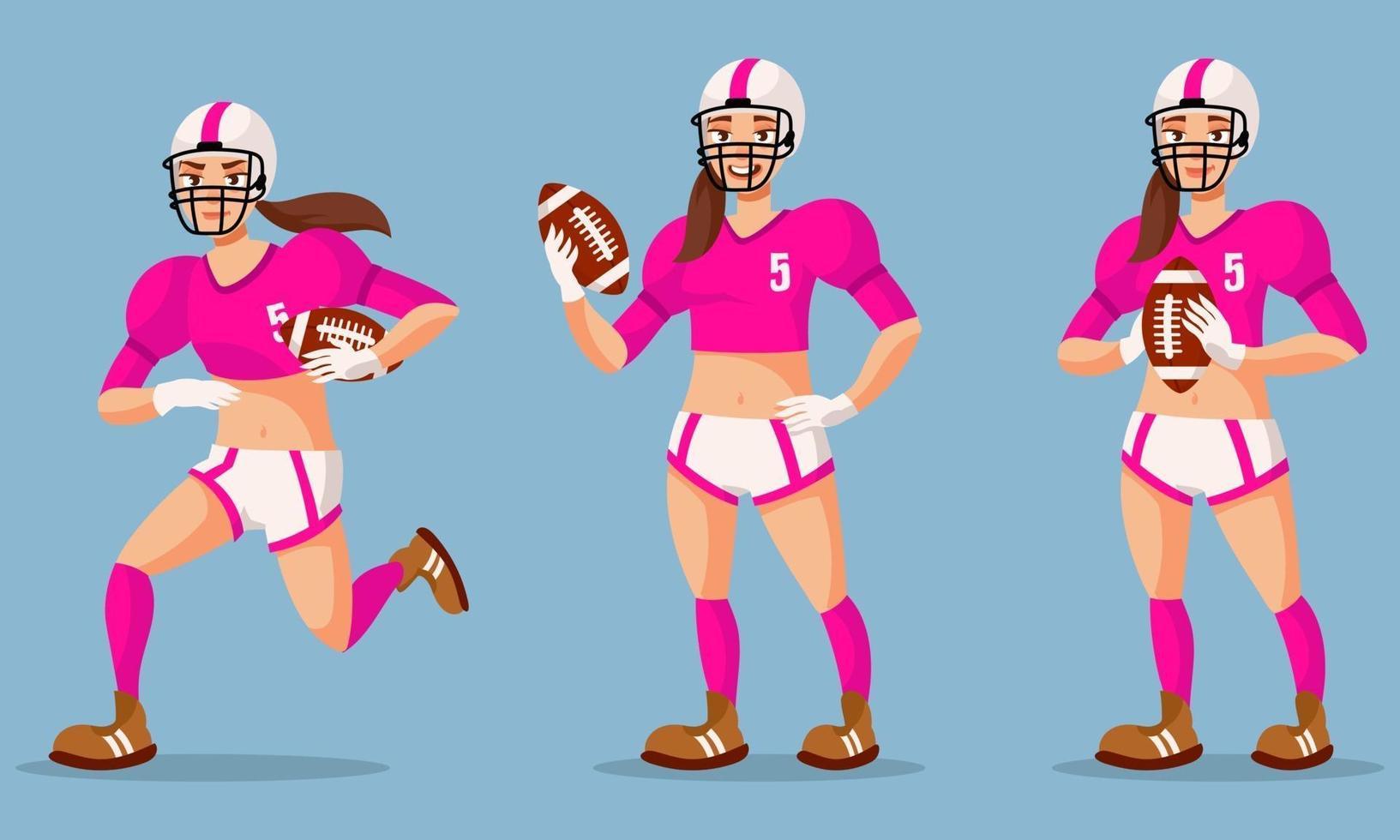 jogador de futebol americano em diferentes poses. vetor